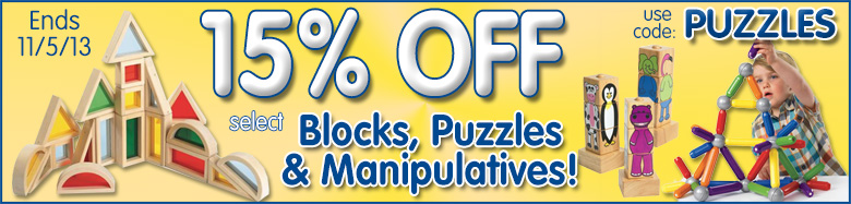 save 15% on select puzzles, blocks & manipulatives!