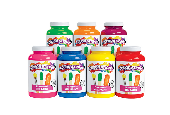 Colorations® Fluorescent Activity Paints, 16 oz. - Set of 7