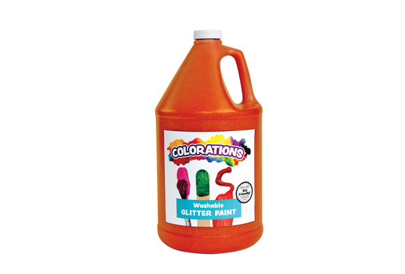 Colorations® Washable Glitter Paint, Orange - 1 Gallon