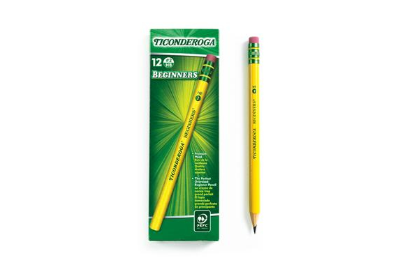 Ticonderoga® Beginners® No. 2 Pencils - With Erasers, Set of 12