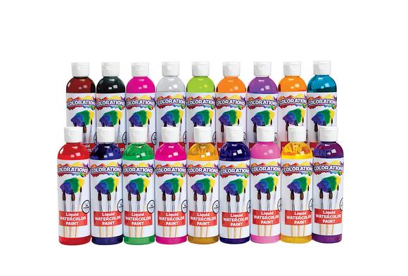 Colorations® Liquid Watercolor Paints, 8 oz. - Set of 18