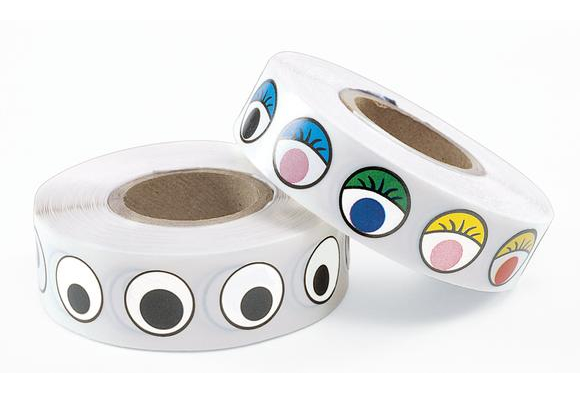 1000 COLORED Googly Eye Stickers