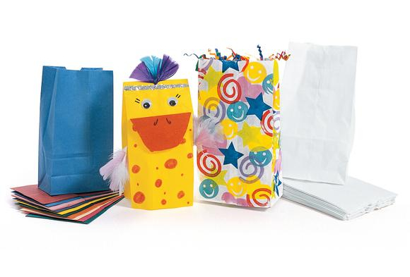 Rainbow or White Paper Craft Bags