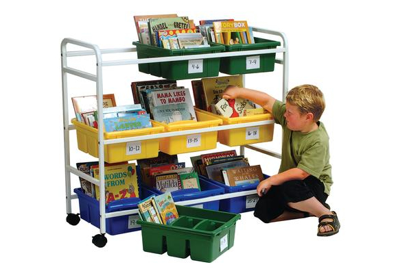 Deluxe Book Browser Cart with 9 Tubs