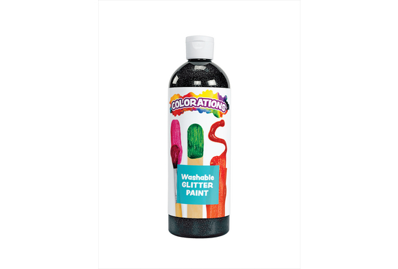 Colorations® Washable Glitter Paint, Black - 16 oz.