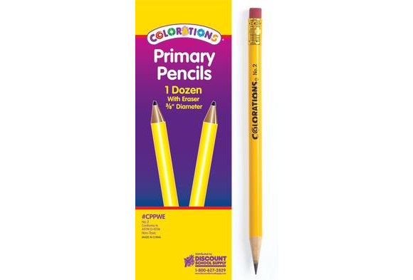 Colorations® Primary Pencils - with Erasers,  Set of 12