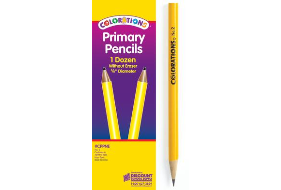 Colorations® Primary Pencils - Without Erasers, Set of 12