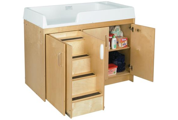Amazing Birch Walk Up Changing Table
