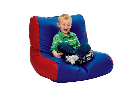 Youth High-Back Beanbag Chair - Red/Blue