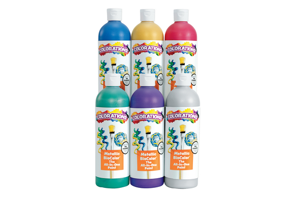 BioColor® Paint, Metallic Colors, 16 oz. - Set of 6