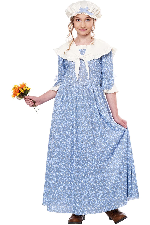 Colonial Village Girl Dress Hat Shawl Cowboy Western Costume Child Girls 00346