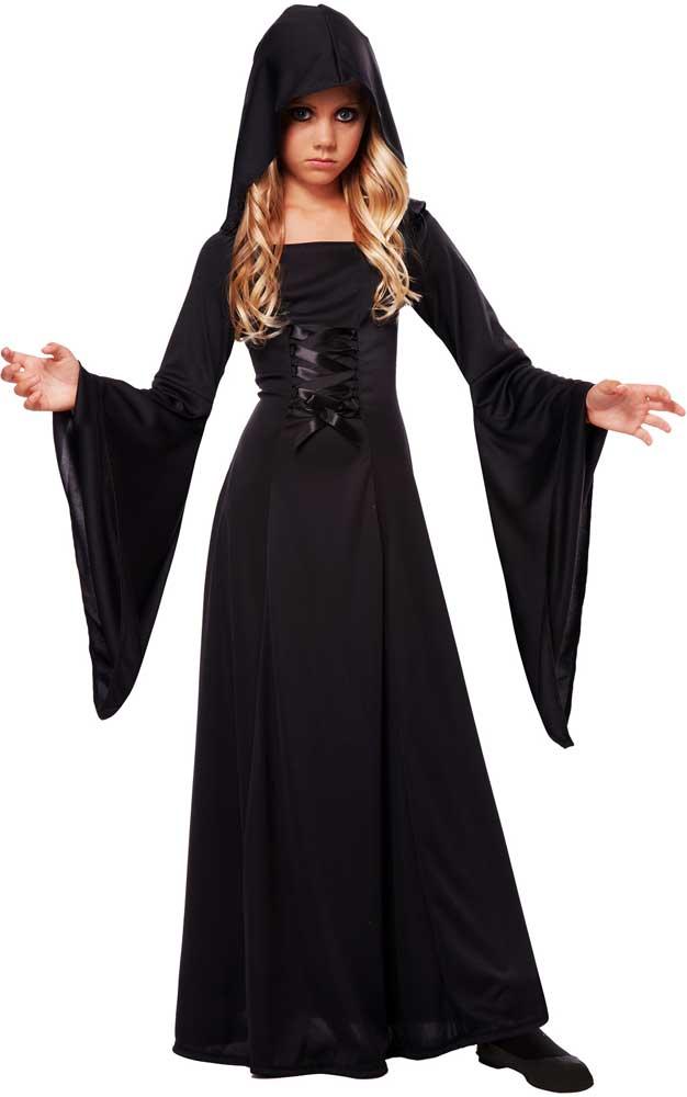 dark magic spooky hooded sorceress robe deluxe halloween. Black Bedroom Furniture Sets. Home Design Ideas