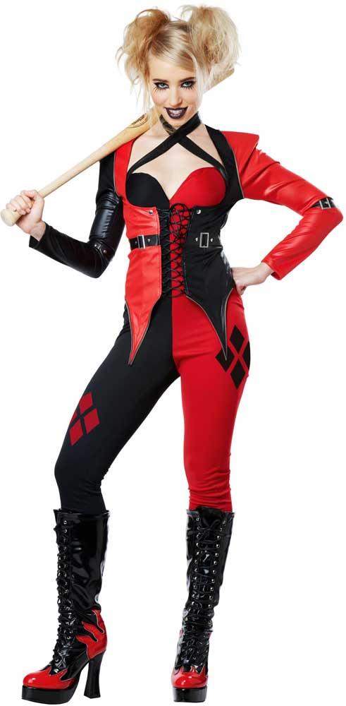 Psycho Jester Chick -Suicide Squad Adult Women Costume Jumpsuit Match Jacket