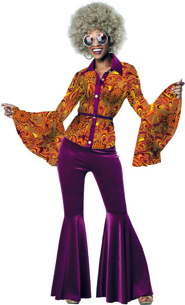 Funky disco diva adult women halloween costume paisley shirt pant match belt ebay - Diva pants ebay ...