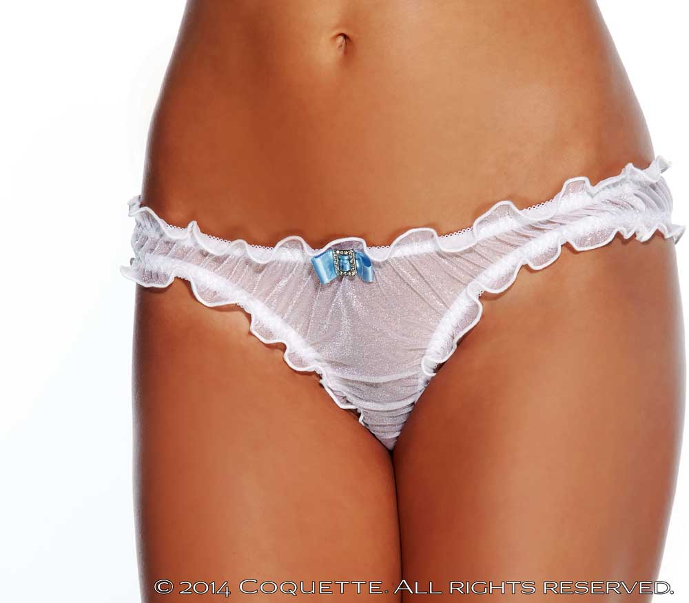 Sexy Lingerie Sheer Ruched Ruffle Trim Pucker Back Panty Panties ...