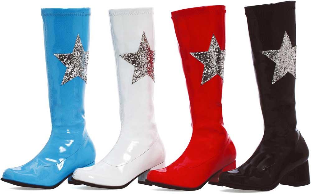 children glitter accent knee high low heel go go