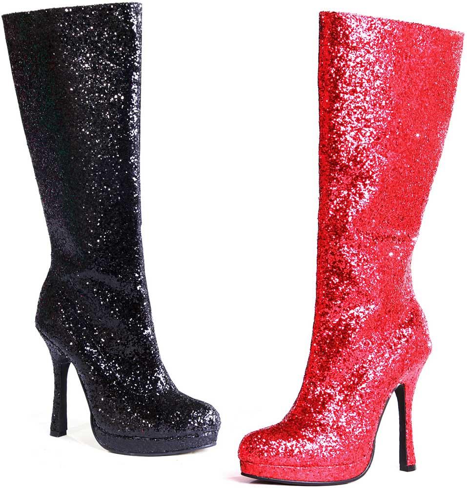 disco fever knee high glitter stiletto high heels boots