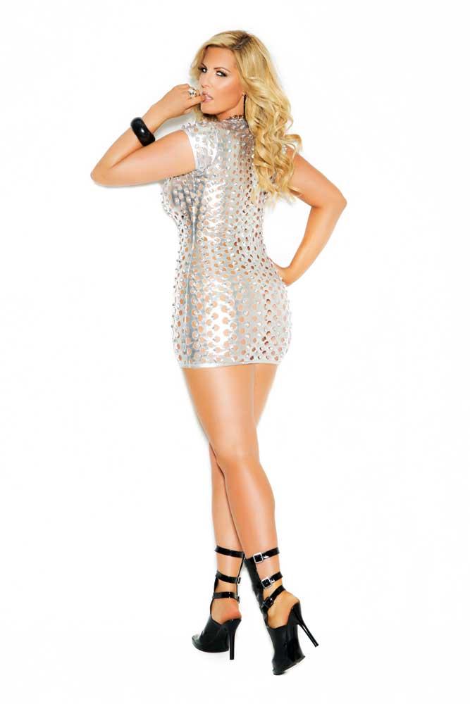 exy Lingerie Dress Lame Size Deep-V Plus Women Skirt Cutout Adult Mini Bodycon