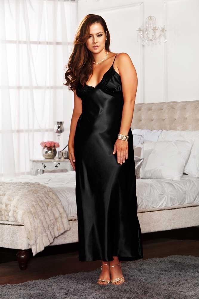 sexy plus size lingerie lace trim lace up back satin gown long