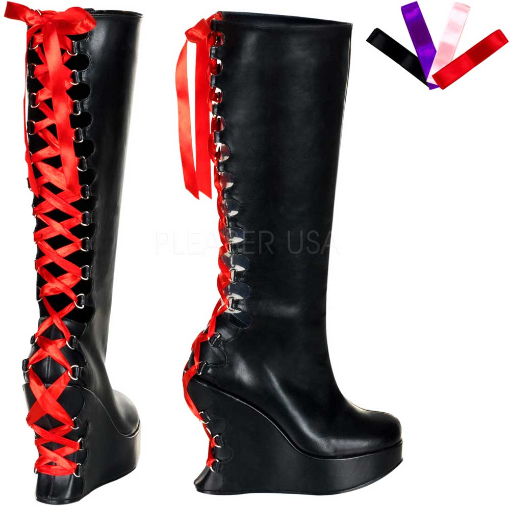 zip lace up back knee high wedge heel boots