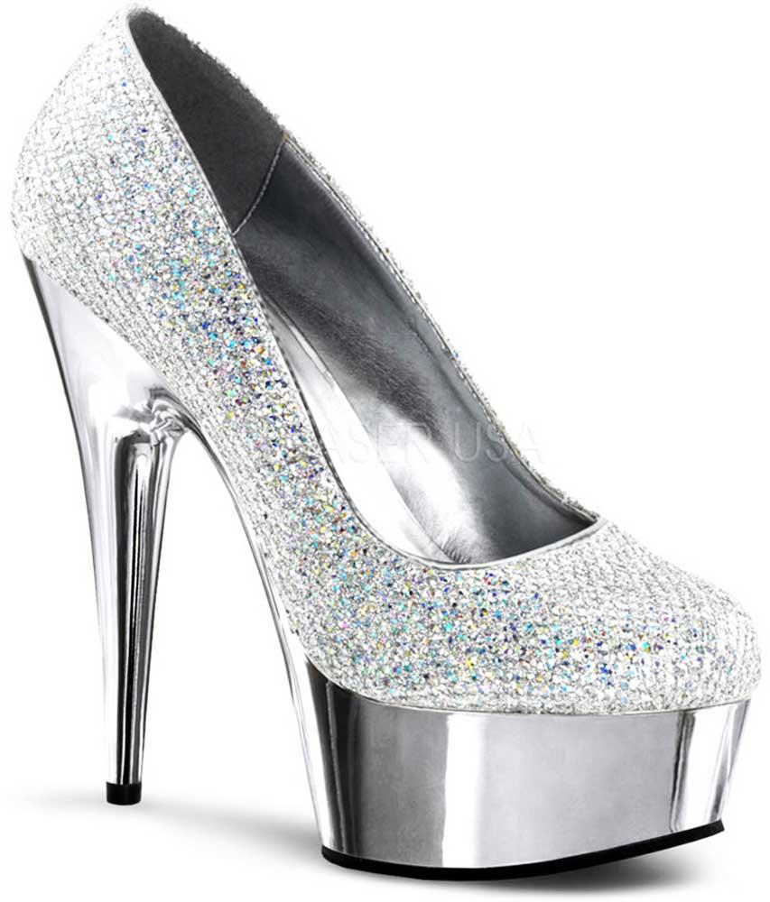 elegant jeweled chrome platform stiletto pumps high heels shoes adult women ebay. Black Bedroom Furniture Sets. Home Design Ideas