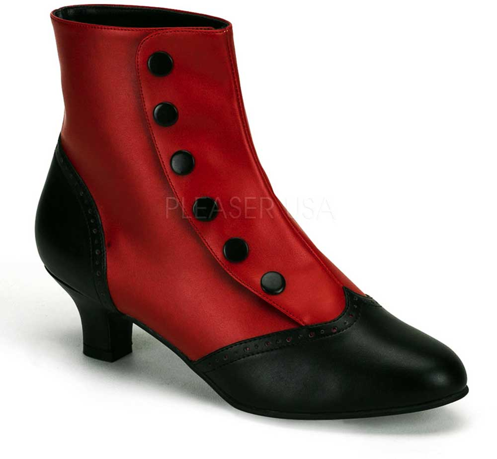 kitten heel wingtip two tone button snap spat ankle boots