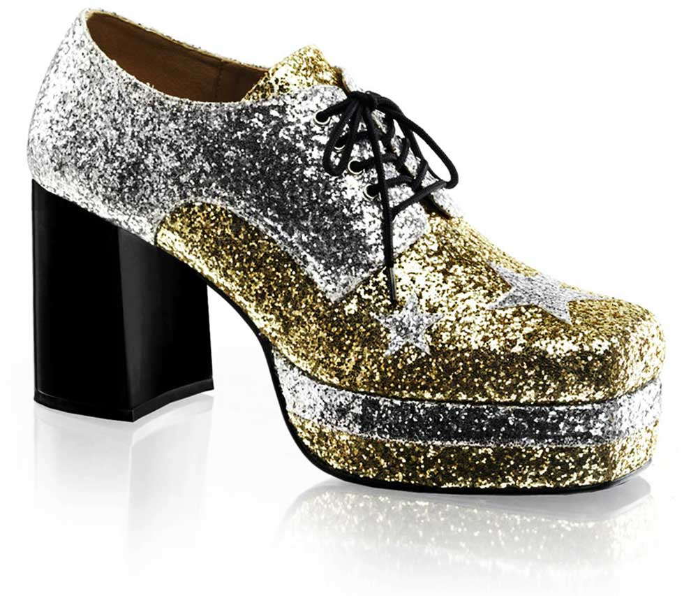 Lace Square Toe Star Glitter Platform Chunky High Heel Boots Shoes ...