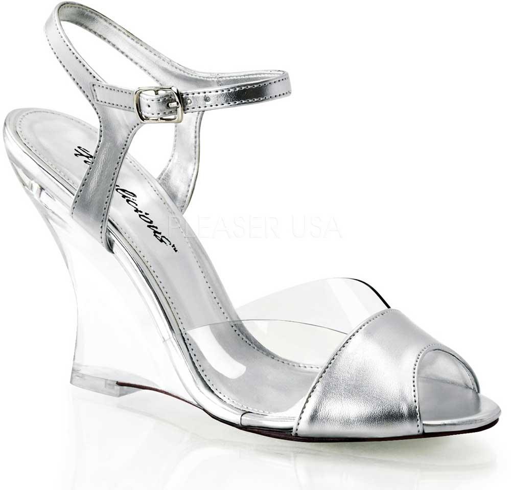 ankle peep toe sandals clear wedge high heels