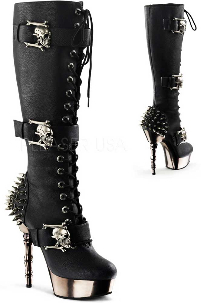 Punk Rock Spiked Heel Finger Bone Stiletto Knee High Boots Shoes ...