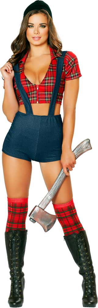Sexy Lumberjack Axe Cutter Wood Logger Halloween Costume Outfit Adult Women