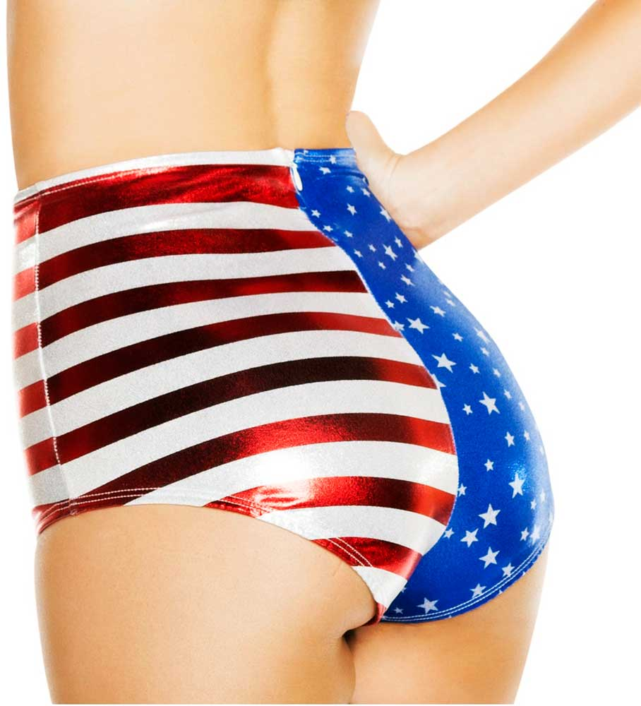 Sexy Patriotic All American High Waist Cheeky Booty Shorts ...