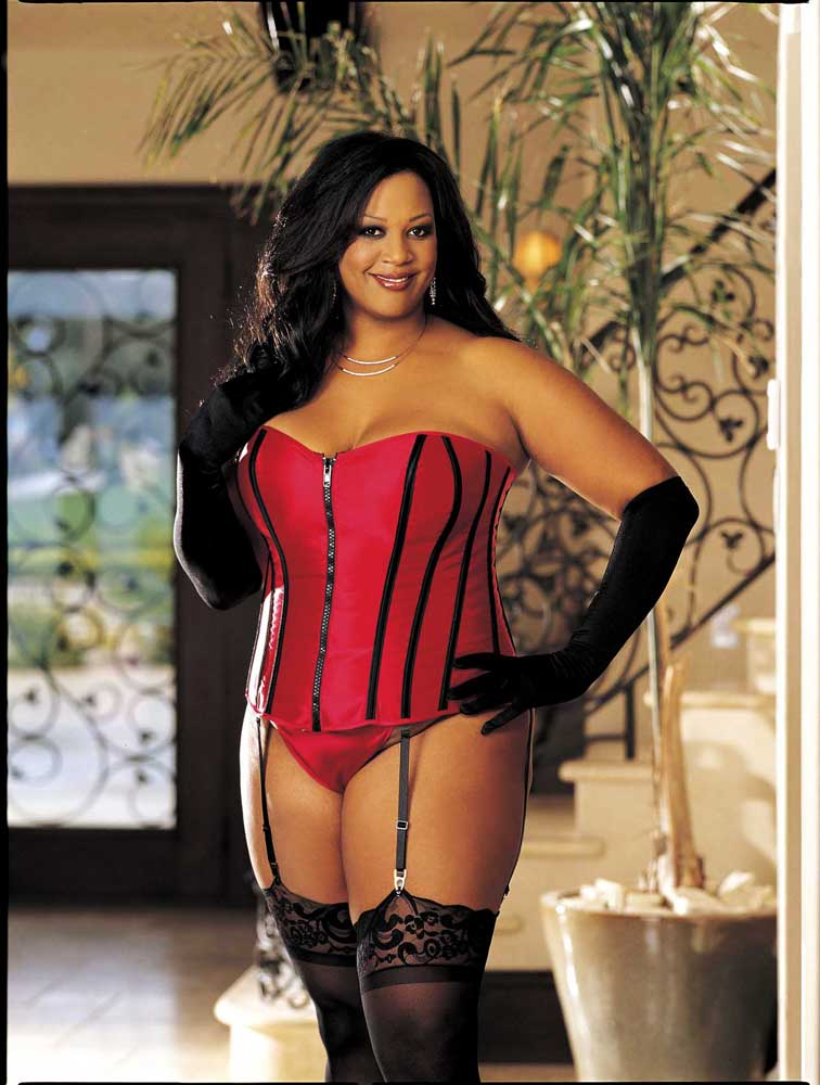 sexy zipper front slimming boning lace up corset plus size