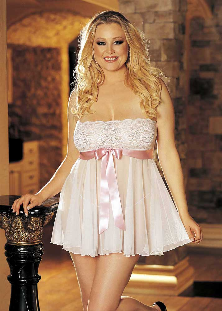 Sexy Tie Front Lace & Mesh Babydoll Dress Skirt Plus Size ...