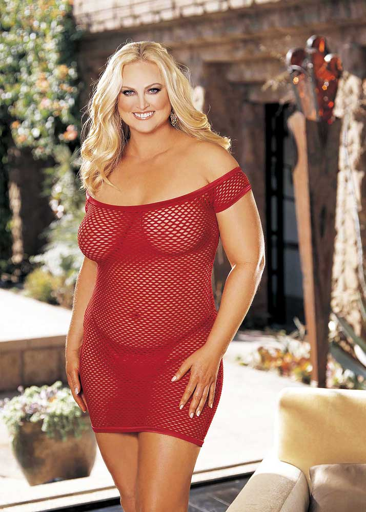 bootylicious stretch fishnet chemise pj dress plus size lingerie