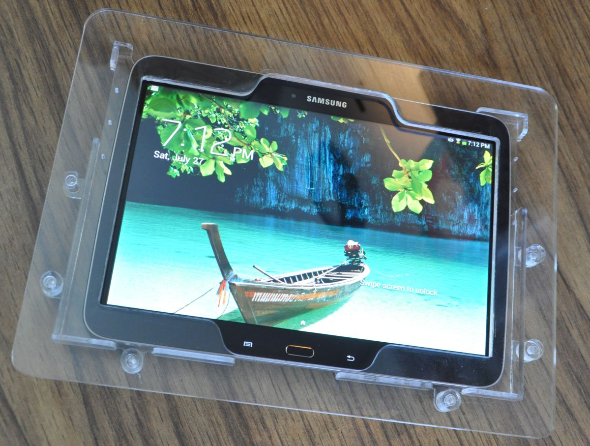description now you can decorate your store by the samsung galaxy tab 3 101 tab pro 101 or galaxy note 101 edition tablet into a - Tablet Wall Mount