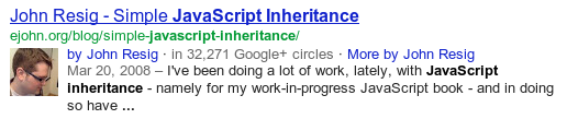 Google Web Search result snippet showing authorship information