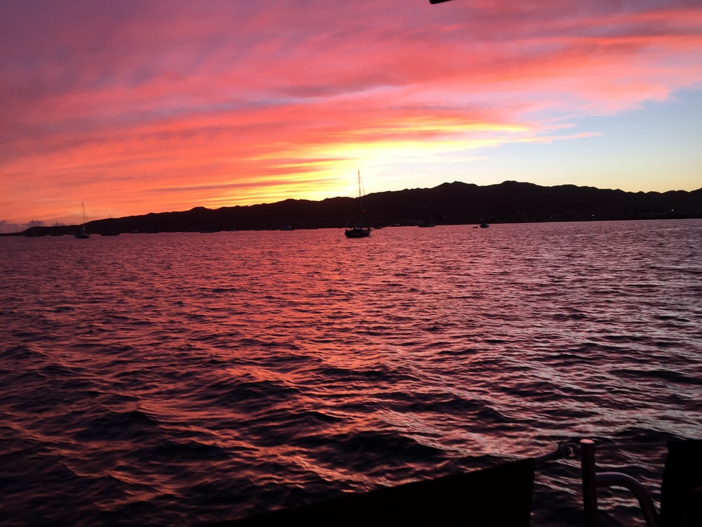 Sunset on the hook in Turtle Bay  during  Baja Ha-Ha 2014
