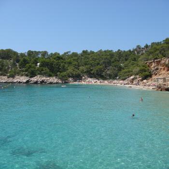 beautiful beach at cala salada on ibiza