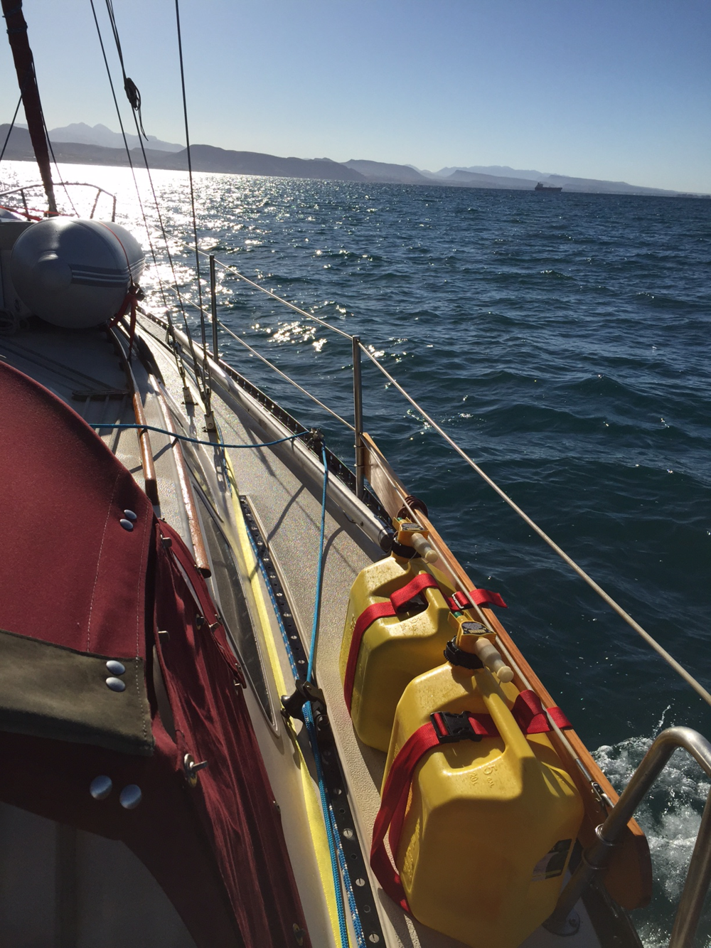 sailing through the La Paz channel - it has the potential to get choppy in here after 15 knots of wind.