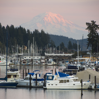 Gig Harbor anchorage with Mt Rainier in the background