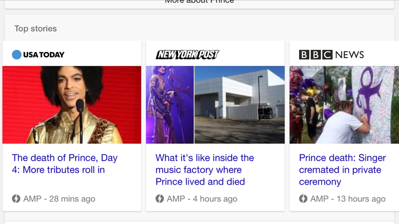example of amp results in google - prince death 2016
