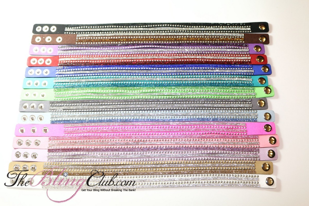 All colors crystals and studs vegan leather bracelets theblingclub