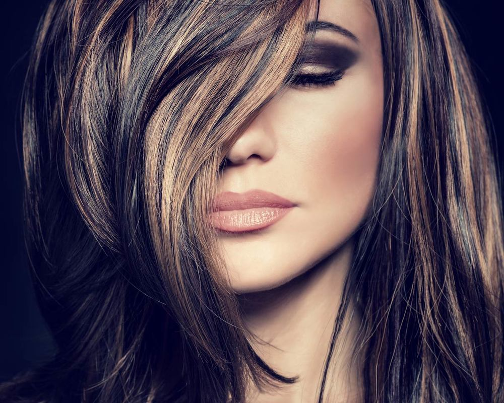 Beautiful highlights on dark hair