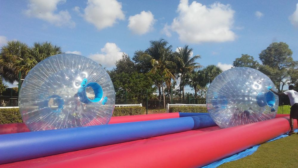 Human hamster ball double lane red blue