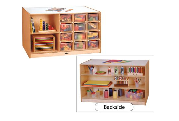 Double Sided Mobile Cubbie Island Storage   With Assorted Color Trays
