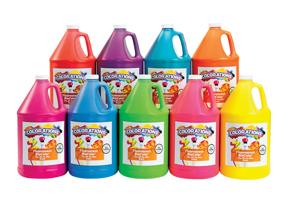 BioColor® Paint, Fluorescent, 1 Gallon - Set of 9