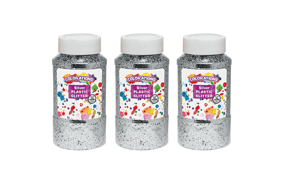 Colorations® Extra-Safe Plastic Glitter, Silver - 3 lbs.