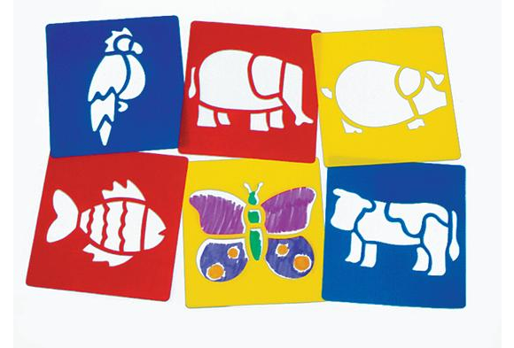 Washable Plastic Animal Stencils  - Set of 6
