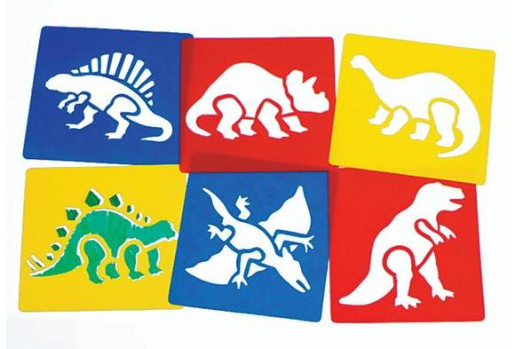 Washable Plastic Dinosaur Stencils - Set of 6