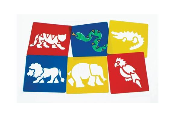 Washable Plastic Jungle Stencils  - Set of 6